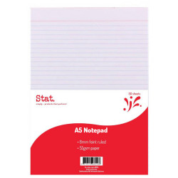 STAT NOTEPAD A5 WHITE 50 SHEET 7mm Ruled 55gsm