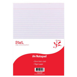 STAT NOTEPAD A4 WHITE 50 SHEET 7mm Ruled 55Gsm