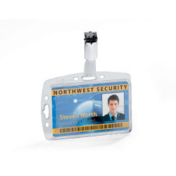DURABLE SECURITY PASS HOLDER Acrylic c/w Rotating Clip Pk25